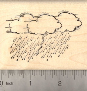 Stormy Weather Rubber Stamp, Lightning, Clouds, and Rain