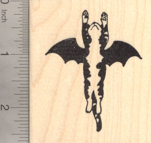 Halloween Cat Bat Rubber Stamp, Flying to the Rescue