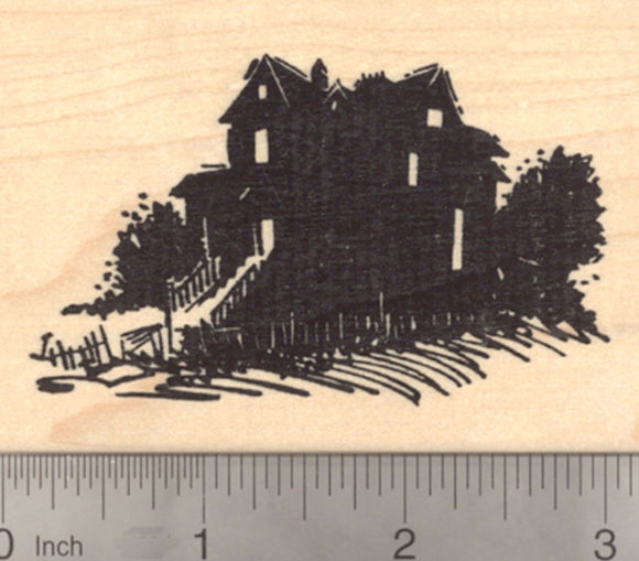 House after Dark Rubber Stamp, for Halloween, or for scenes