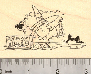 Halloween Witch in Training Rubber Stamp, Teen with Potion Set