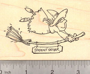 Halloween Witch in Training Rubber Stamp, Teen Student Driver Broomstick