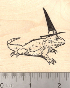 Halloween Witch Iguana Rubber Stamp, Reptile, Lizard