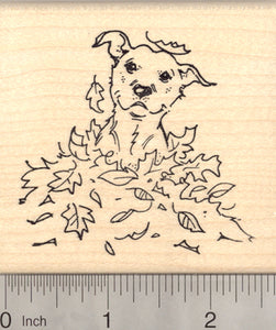American Pitbull Terrier Dog Rubber Stamp, in Autumn Leaves