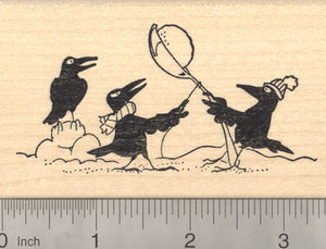 Crow Rubber Stamp, Winter Holiday Theme with Snowball fight