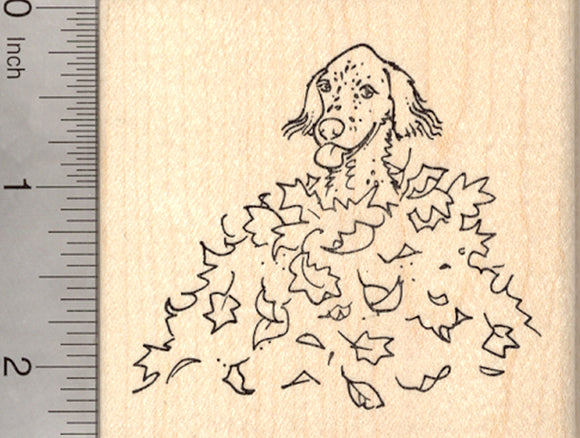 English Setter Dog Rubber Stamp, in Autumn Leaf Pile