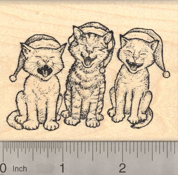 Christmas Caroling Cat Rubber Stamp, Singing Cats