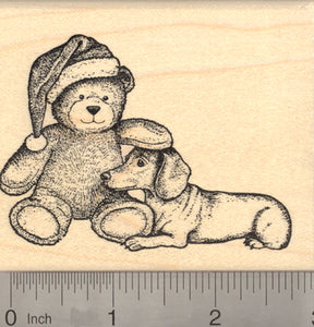Christmas Dachshund Dog Rubber Stamp, with Santa Hat Teddy Bear