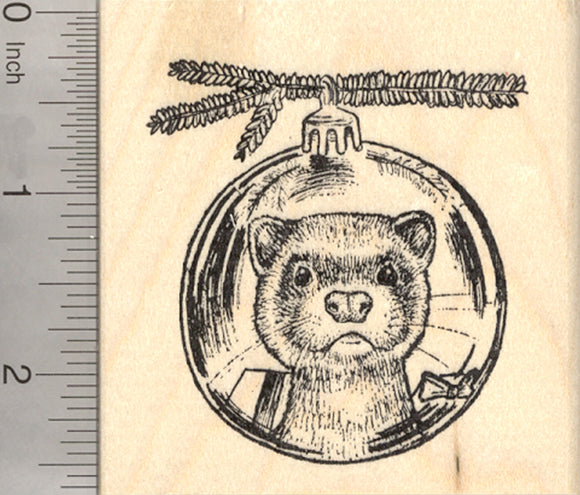 Christmas Ferret Rubber Stamp, Reflection in Holiday Tree Ornament