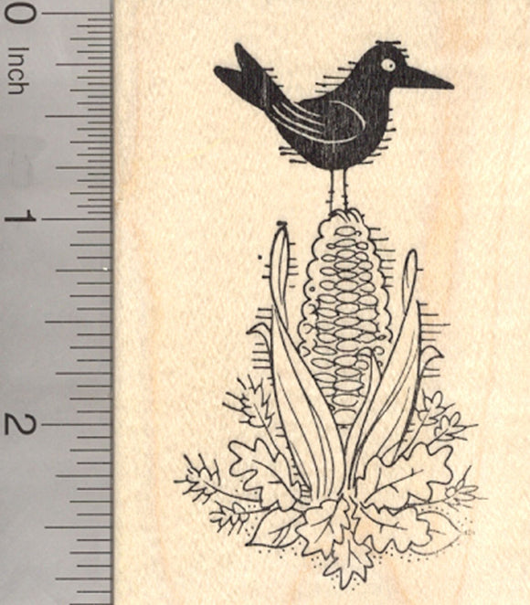 Blackbird Rubber Stamp, on Ear of Corn, Crow, Raven