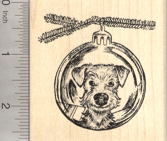 Christmas Airedale Terrier Dog Rubber Stamp, Reflection in Holiday Tree Ornament