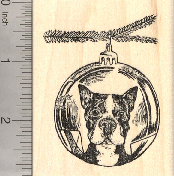 Christmas Boston Terrier Dog Rubber Stamp, Reflection in Holiday Tree Ornament