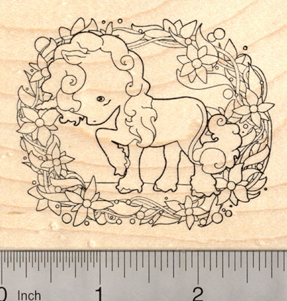 Unicorn Rubber Stamp, Floral Design