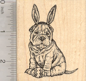 Easter Sharpei Dog Rubber Stamp, in Bunny Ears