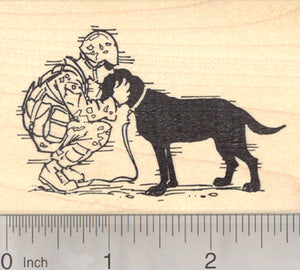 Military Dog Rubber Stamp, Soldier Returns Home
