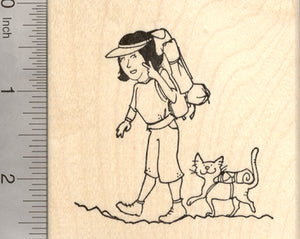 Hiking Cat Rubber Stamp, with Backpacking Gear, Hiker