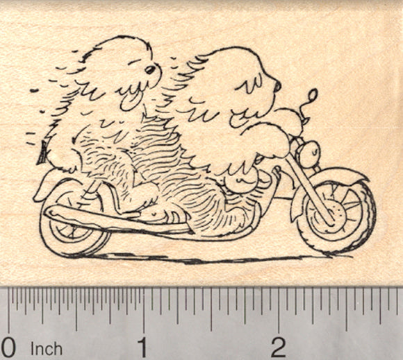 Sheepdog Motorcycle Rubber Stamp, 2 Old English Sheep Dogs on Bike