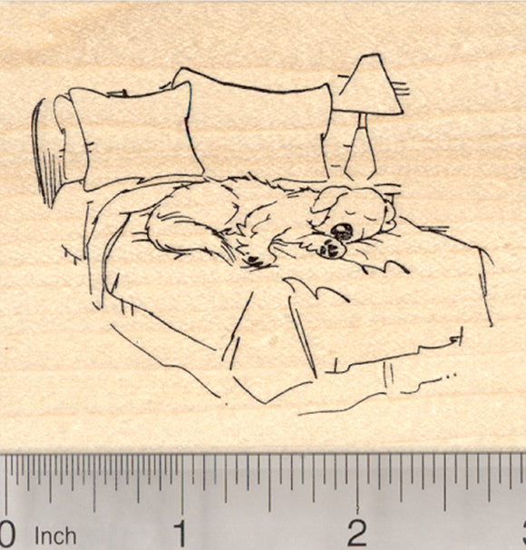 Dog Rubber Stamp, Sleeping in Bed, Labrador, Golden Retriever