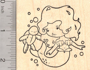 Mermaid Rubber Stamp, with Sea Turtle, Folklore, Mythology, Legend, Sea Siren