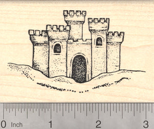 Sandcastle Rubber Stamp, Beach Sculpture, Summer