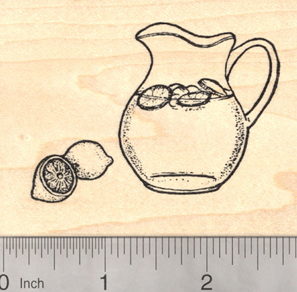 Lemonade Rubber Stamp, in Glass Pitcher with Lemon, Summer Fun