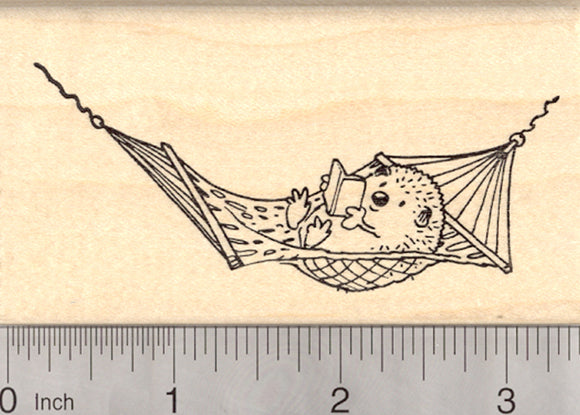 Hedgehog in Hammock Rubber Stamp, Summer Reading Program