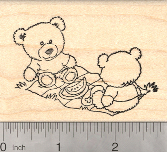 Teddy Bear Picnic Rubber Stamp, Summer Cookout Series