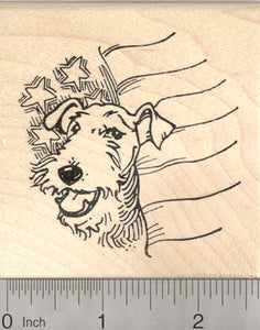 Airedale Terrier July 4th Rubber Stamp, Dog with American Flag