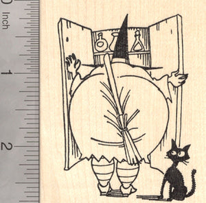 Halloween Witch Rubber Stamp, Seeking Broom, With Black Cat