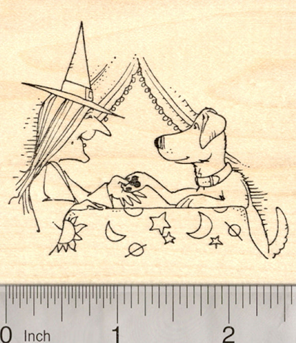 Halloween Witch Rubber Stamp, Paw Reader, Fortune Teller with Dog