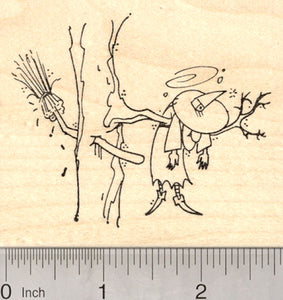 Halloween Witch Rubber Stamp, Broom Crashed into Tree