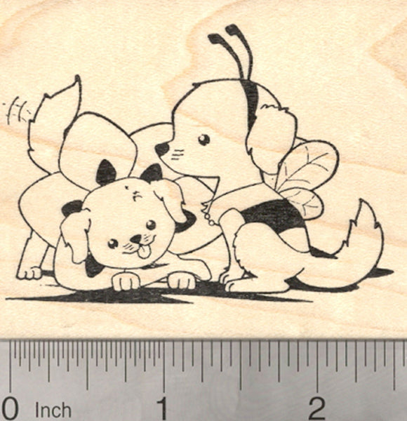Labrador Retriever Halloween Rubber Stamp, Dogs in Bumble Bee and Flower Costumes