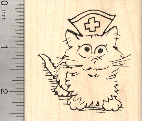 Get Well Cat Rubber Stamp, Nurse Kitty, Large