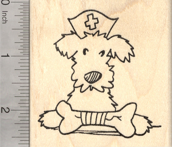 Get Well Terrier Rubber Stamp, with Broken Dog Bone, Large