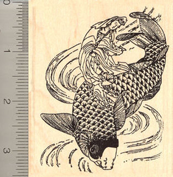 Gyoran Kannon Rubber Stamp, on Koi fish, Hokusai Katsushika, Japanese Edo Period
