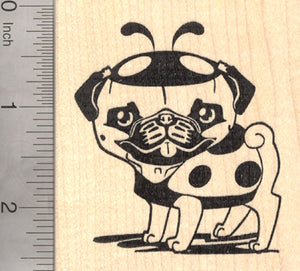 Lady Pug Rubber Stamp, Dog in Ladybug Costume, Halloween