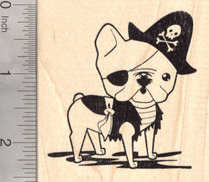 French Bulldog Pirate Rubber Stamp, Dog in Halloween Costume
