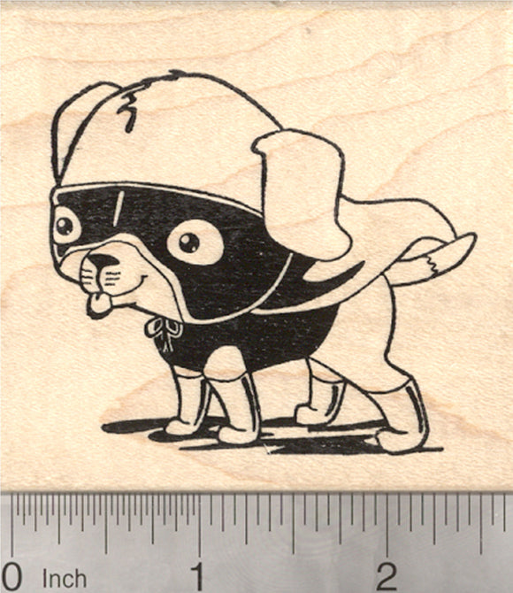 Super Beagle Rubber Stamp, Dog in Superhero Cape and Mask, Halloween Costume