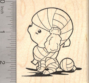 Halloween Poodle Mummy Rubber Stamp, Dog in Costume