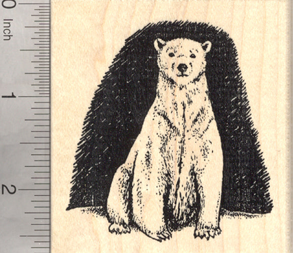 Polar Bear Rubber Stamp, Arctic Carnivore, Endangered Wildlife