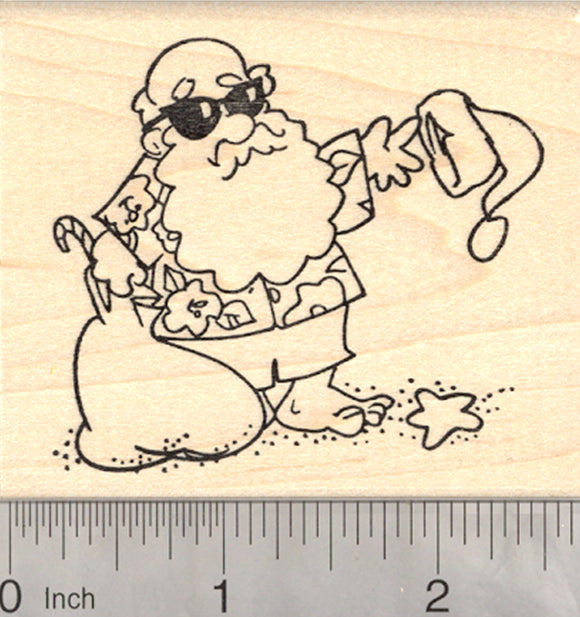 Tropical Santa Rubber Stamp, Christmas in the tropics, in July