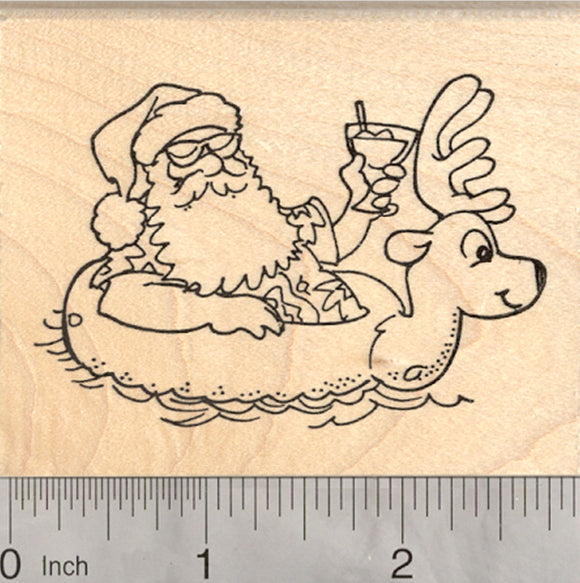Tropical Santa Rubber Stamp, Christmas in the tropics, with Reindeer Pool Float