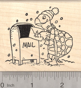 Christmas Card Turtle Rubber Stamp, Tortoise Mailing Holiday Greeting