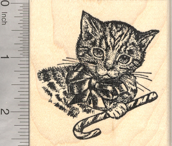 Christmas Cat Rubber Stamp, Tabby with Candy Cane