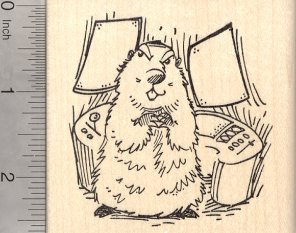 Groundhog Day Rubber Stamp, Marmot Plotting World Domination