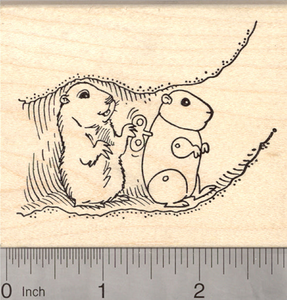 Groundhog Day Rubber Stamp, Marmot with Wind up Clockwork Robot Imposter, Prank