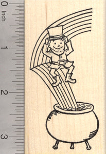 Leprechaun Rubber Stamp, St. Patrick's Day Rainbow and Pot of Gold