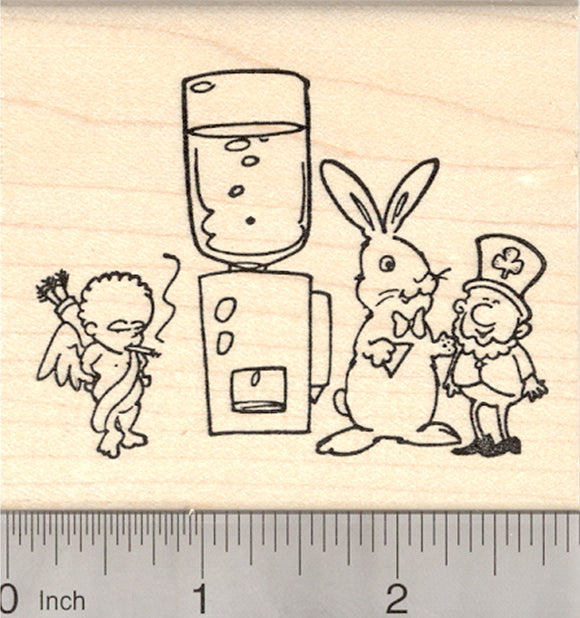 St. Patrick's Day, Easter, Valentine's Day Rubber Stamp, Cupid, Bunny, and Leprechaun at Water Cooler