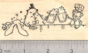 Drinking Leprechaun, Groundhog, Easter Bunny Rubber Stamp, St. Patrick's Day Party Scene