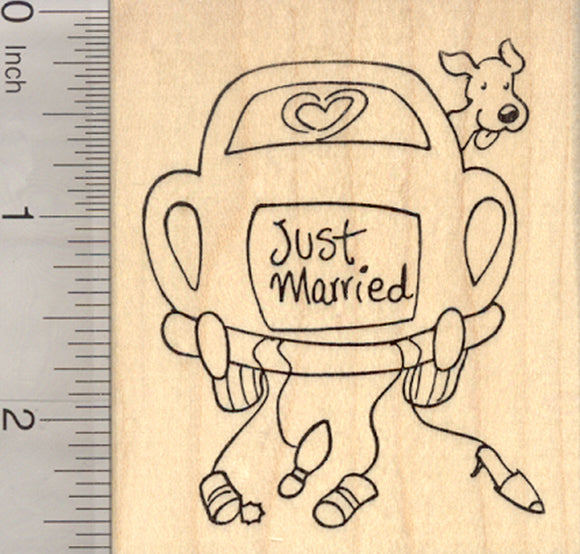 Just Married Car Rubber Stamp, Dog Wedding