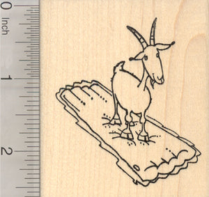 Floating Goat Rubber Stamp, on Inflatable Raft